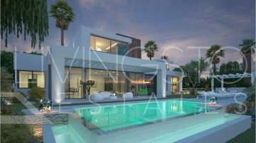 Brand-new contemporary style villa with outdoor swimming pool and garden, situated next to the ...